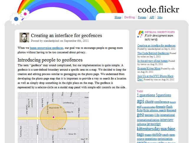 Screenshot of Flickr Developer Blog