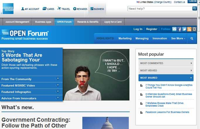 OPEN Forum American Express Website