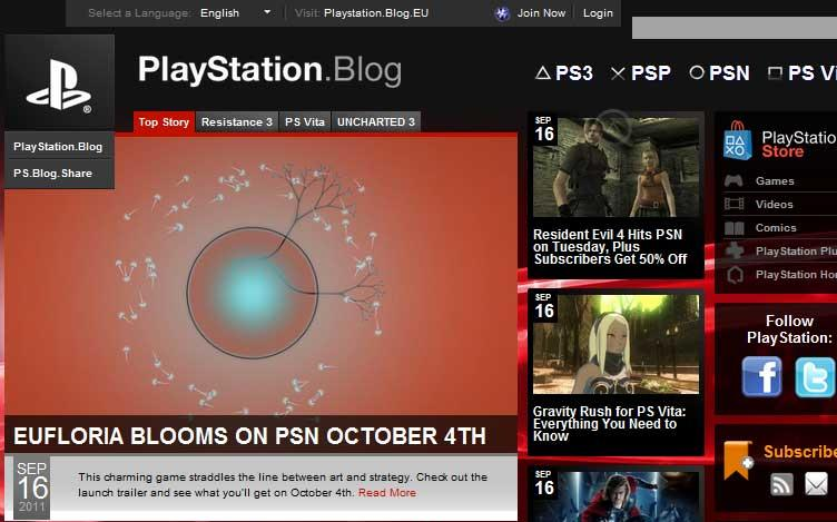 PlayStation US Blog Website runs on WordPress.
