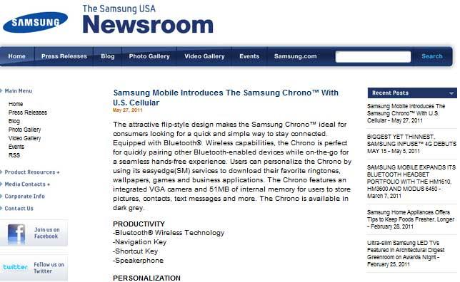 Samsung USA Newsroom Website