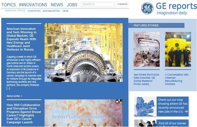 Screenshot of GE Reports Website