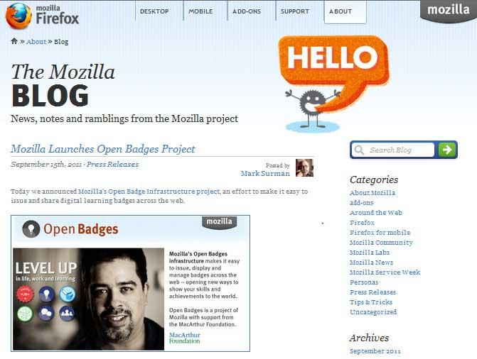 The Mozilla Blog running on WordPress