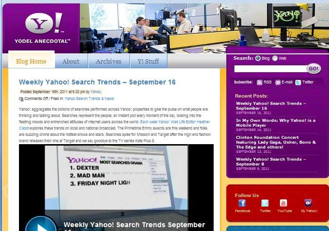 Screenshot of Yahoo!'s Yodel Anecdotal Blog