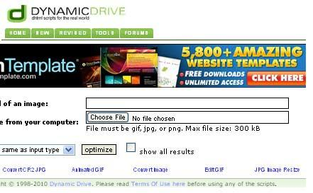 Preview of Dynamicdrive image optimizer