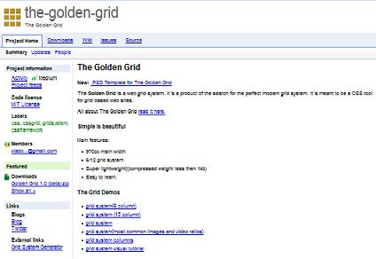 Preview of Golden grid CSS system