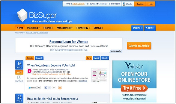 Bizsugar - Social Bookmarking Sites