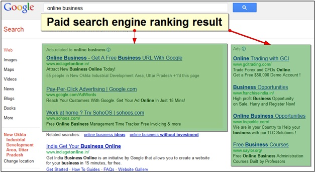 Paid Search Engine Ranking Result