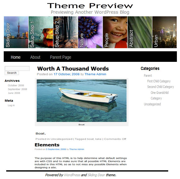 Free WordPress Sliding Door Theme