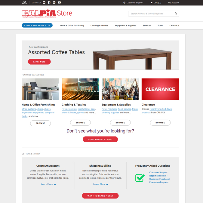 Calpia Store - PSD to HTML - Xhtmljunction's client
