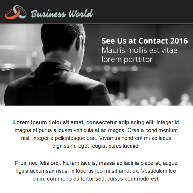 Business World - PSD to Responsive Newsletter - Xhtmljunction's client