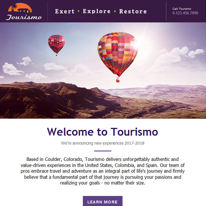 Tourismo - PSD to Responsive Newsletter - Xhtmljunction's client