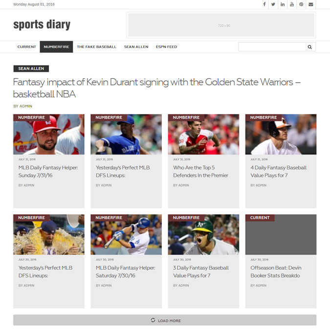 Sports Diary - PSD to Wordpress - Xhtmljunction's client